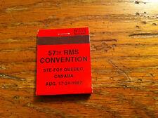Vintage 57th RMS Convention Ste-Foy Quebec Canada 1997 Bikini Girl art Matchbook