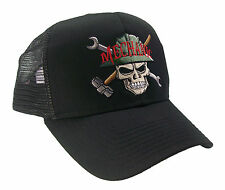 Mechanic Skull Construction Oilfield Roughneck Embroidered Mesh Cap Hat