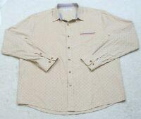 Tomsware Beige Pocket Dress Shirt Size XXL Cotton Mans Long Sleeve 2XL Button up