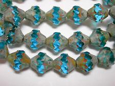 15 11x10mm Czech Glass Capri Blue Picasso Baroque  Bicone Beads