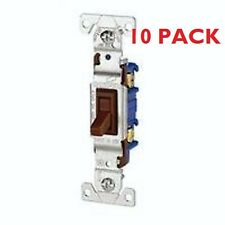 10 PaK - QUIET SWITCH TOGGLE SP 15A 120V NONGRD  Brown Single Pole Industrial