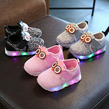 Infant Toddler Baby Girls Boys Cute Cartoon LED Luminous Sport Shoes Sneakers
