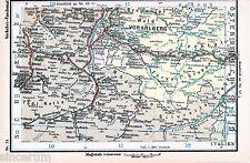 Vorarlberg Chur Bludenz Feldkirch 1935 kl orig. Eisenbahn-Karte Hohenems Arlberg