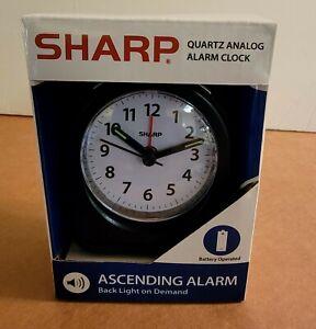 Sharp Quartz Analog Black Ascending Alarm Clock Battery Operated NEW!!