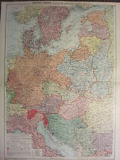 1939 MAP ~ CENTRAL EUROPE TERRITORAL CHANGES (1914) PEACE TREATIES GERMANY