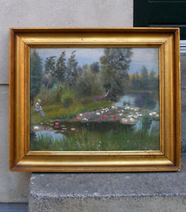 Interesting Antique French impressionist oil. Woman at water lily pond. 1880s.