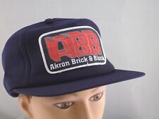 VINTAGE AKRON BRICK & BLOCK CONSTRUCTION USA SNAPBACK HAT CAP PRE-OWNED ST53