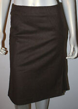 GINA MANTELLI Italy Brown Lambswool Angora Pleated Circle Skirt 8 COUTURE Pencil
