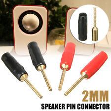 4PCS 2mm Speaker Pin Connector Banana Plug Screw Terminal Gold Plated Audio US#