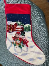 Vintage WOOL Needlepoint Christmas Stocking  SNOWMAN FAMILY, 18 ""