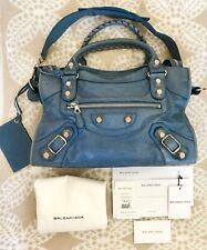 BALENCIAGA Agneau Giant 21 Lambskin Leather Silver City Bag-Bleu Blue