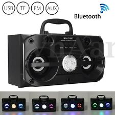 Portable Black USB/TF/AUX/FM LED Bluetooth Wireless Radio Stereo Outdoor Speaker