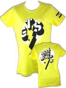 CM Punk Yellow GTS Womens WWE Authentic t-shirt New