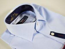 Camicia Celeste No Stiro Ingram Cottonstir Slim Fit cotone lavorato taglia 43-XL