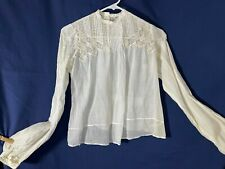 New listing Victorian Blouse- S/M- White- Lace & Tucking- 16 Tiny Buttons- Beautiful
