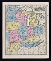 1863 Wells Map - Michigan Kentucky Ohio Indiana Illinois Missouri Wisconsin Iowa