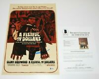 ACTOR CLINT EASTWOOD SIGNED 'A FISTFUL OF DOLLARS' MOVIE POSTER BECKETT COA