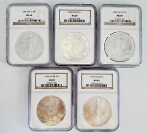 5) United States American Silver Eagles $1 Coins 1989 1990 1991 1992 1993 MS69