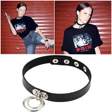 Unisex Harajuku Punk Dark Rock Leather Double Ring Collar Choker Funky Necklace