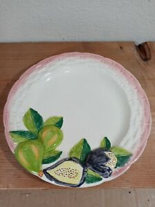 PORTA MADE IN PORTUGAL DECORATIVE PLATE RAISED FRUIT FIGS PURPLE PINK WHITE
