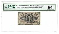 10 CENTS FRACTIONAL CURRENCY THIRD ISSUE PMG CHOICE UNCIRCULATED 64 FR-1253