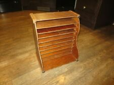 Vintage Wooden Desktop Organizer Bills Letter Invoice Holder Business Office