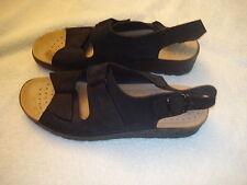 Women's FlyFlot Black Suede Leather Sandals-41/10.5