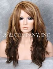 HEAT SAFE WIG Striking Wavy Long  Light Brown Golden Blonde mix WBSY 8-12Ds