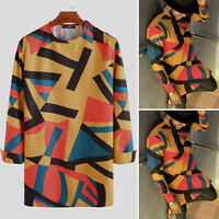 INCERUN Mens African Dashiki Clothing Long Sleeve Kaftan Slim Fit Blouse T Shirt