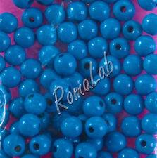 85 PERLE PERLINE DA 8 MM rotonde IN LEGNO verniciato blu spacer beads mid blue