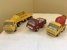 3 Vintage Tonka Mini Pressed Steel Trucks Dump Truck, Van And Cement Mixer