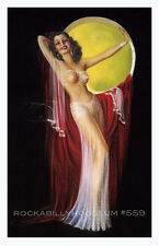 Pin Up Girl Poster 11x17 exotic flapper maiden dame art deco full moon burlesque