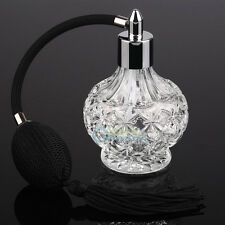 80ml Vintage Clear Crystal Perfume Bottle Long Black Bulb Tassel Spray Atomizer