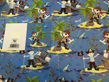 NEW BOYS PIRATE AHOY BIRTHDAY GIFT WRAPPING PAPER 2 SHEETS+1 GIFT TAG