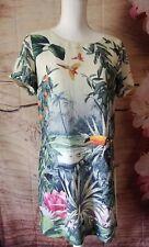 H&M Conscious Collection Dress Womens Floral Jungle Shift Dress Sz 8 A06