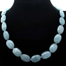 fashion Natural 13x18mm Brazilian Aquamarine Gemstones Oval Beads Necklace 18""