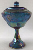 Vintage Blue Carnival Glass Candy Dish With Lid Harvest Grape Indiana Glass