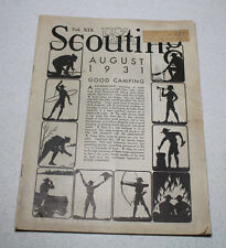 Scouting Magazine 1931 August Issue Good Camping Silhouettes Cover