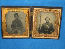 """Civil War 1/6 Plate Double Ambrotype Image Of The Same Infantry Soldier With """"Co"""