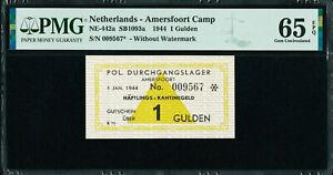 Netherlands One Gulden 1944 AMERSFOORT CONCENTRATION CAMP GEM UNC PMG 65 EPQ