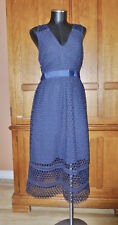 NwT ABERCROMBIE & FITCH Sheer Crochet Lace Navy Cocktail Wedding Party DRESS L