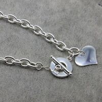 925 Sterling Silver Necklace Heart Pendant Chain Jewellery Womens - Hallmarked