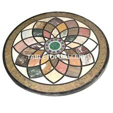 2.5' Marble Round Coffee Table Top Multi Stone Mosaic Inlay Dining Decors B043