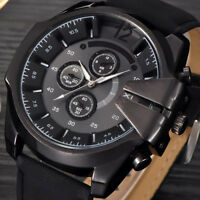 Luxury Men Watches Leather Stainless Steel Quartz Analog Sports Dial Wrist Watch
