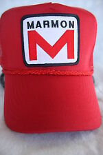 MARMON TRUCK HAT WITH EMBROIDERY PATCH ADJUSTABLE SIZING    COLOR   ( RED )