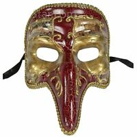 Venetian Half Face Mask Masquerade RED Capitano CARNIVALE mens NOSE commedia new