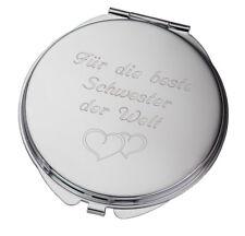 Taschenspiegel Metall Rund mit Gravur beidseitiger Spiegel Kosmetikspiegel NEU