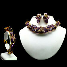 NATURAL DELUEX SET! PURPLE AMETHYST 925 STERLING SILVER 14K GOLD PLATED