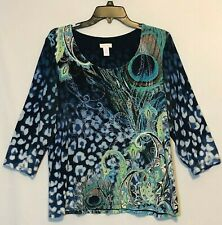 Chico's Size 2 Multicolor Artsy Paisley 3/4 Sleeve Stretch Tunic Style Top