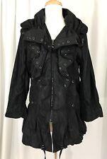 NWT Flair Brand Black Ruffle Front Fashion Rain Coat Jacket Tiny Polka Dot M